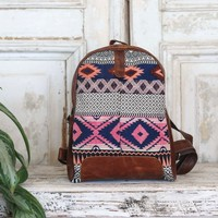 Pink + Blue Tones Fabric Leather Marshé Backpack