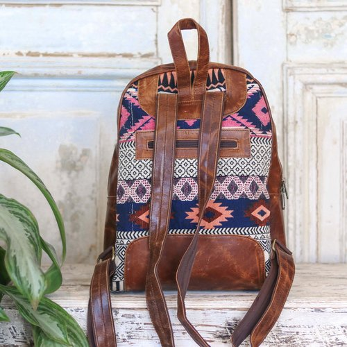 Marshe Pink + Blue Tones Fabric Leather Marshé Backpack