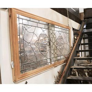 Victorian Beveled Glass Wrapped in Oak Trim