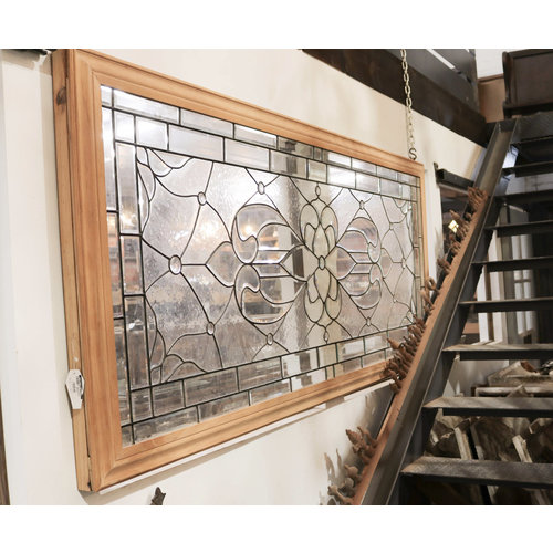 Victorian Beveled Glass Wrapped in Oak Trim