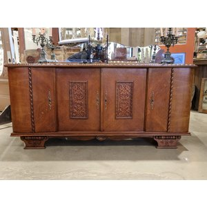 Ornate Wooden Buffet w/ Beveled Mirror