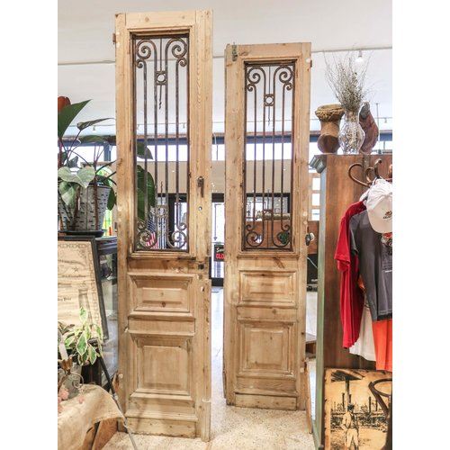2 Panel Double Doors with Ironwork from Egypt