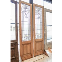 Pair of 1 Panel Stained Glass Double Doors