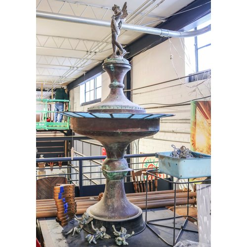 Copper Water Fountain with Stained Glass