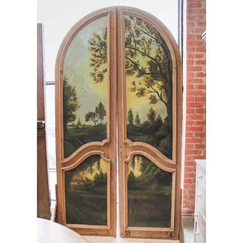 Pair of 2  Panel Arched Old English Double Doors