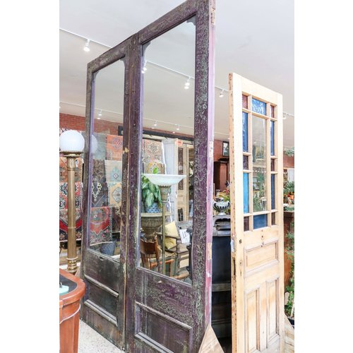 Pair of 1 Panel 3/4 Light Old English Doors
