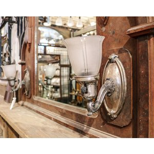 Pair of Art Nouveau Nickel Plated Sconce Lights