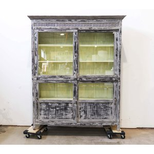 Indian Teak Wood Display Cabinet with Ornate Tile