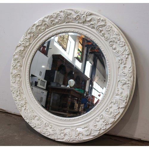 White Accent Round Beveled Mirror