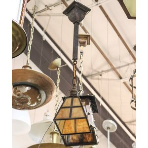 Chandelier with Stained Glass Shade