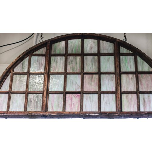 Arched Top Old English Stained Glass Window with 34 Panels