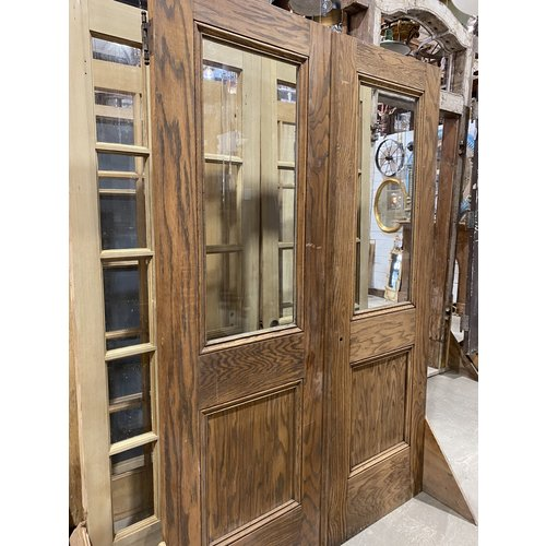 Pair of Wood Doors with Glass Design