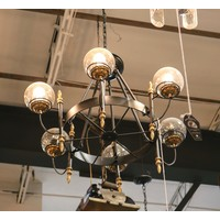 MODO Glass Loft Industrial Chandelier with Globes