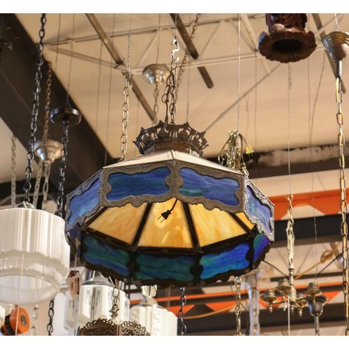 Art Nouveau Stained Glass Hanging Light