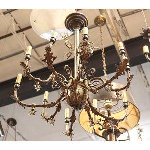 Brass Large Art Nouveau Chandelier