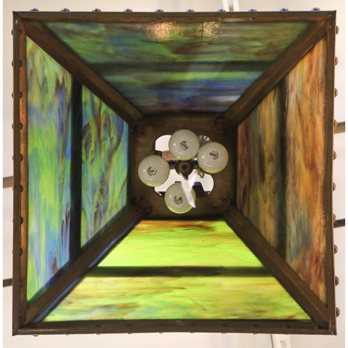 Hanging Light with Green and Yellow Stained Glass