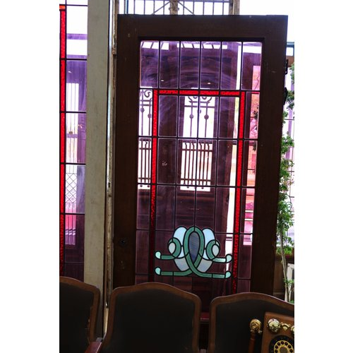 1 Panel Wooden Door with Light Purple Stained Glass
