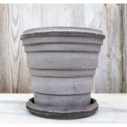 Planet 16cm Pot & Saucer Antique Grey