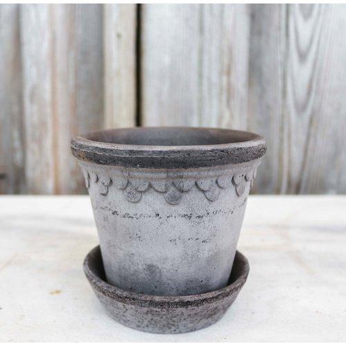Kobenhavner 10cm Pot & Saucer Antique Grey