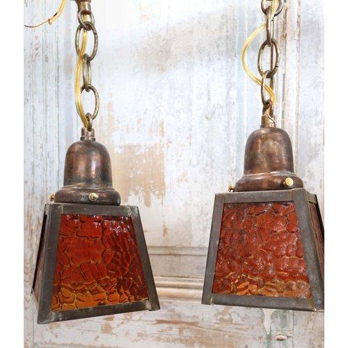 Pair of Pendants with Orange Textured Glass