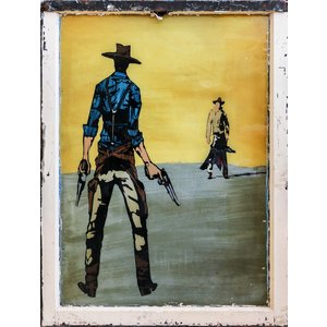 Cowboy Duel Painted Sign from St. Louis
