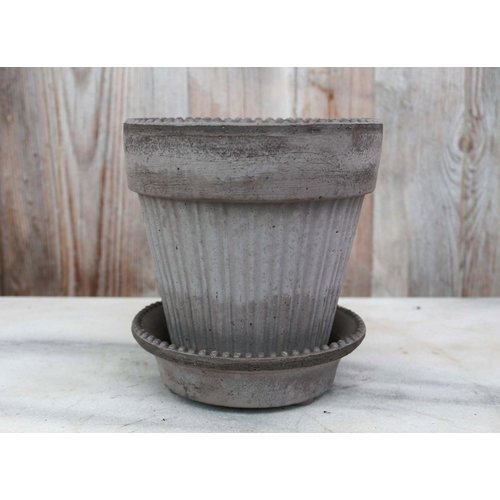 Simona 12cm Pot & Saucer Antique Grey