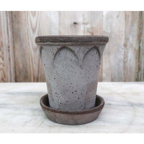 Elizabeth 12cm Pot & Saucer Grey