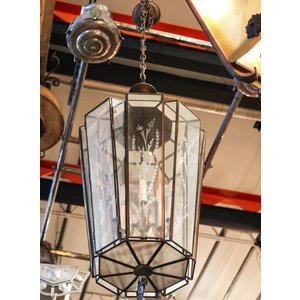 Large Hanging Light with Glass Shade