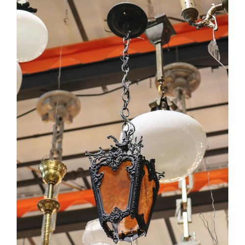 Iron Hanging Light with Amber Textured Stained Glass