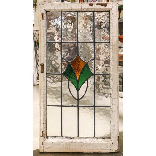 English Stained Glass Window- Green and Yellow