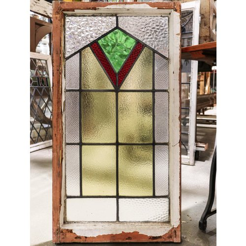 English Stained Glass- Green, Red, And Yellow Banner