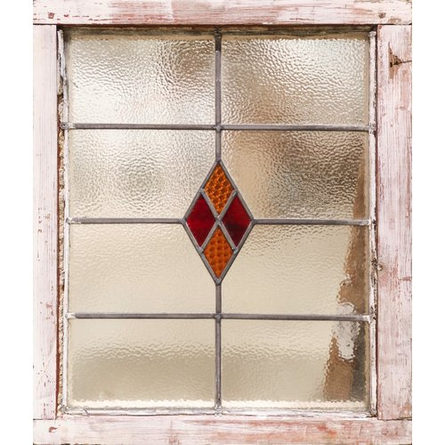 English Stained Glass- Red And Yellow Diamonds