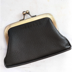 Marshe Black Leather Coin Purse- Marshé Leather