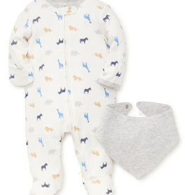 Little Me Safari Footie w/Bib 9M