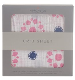 Newcastle Crib Sheet Prim Rose & Indigo