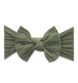 Baby Bling Bow Cable Knit Army Green