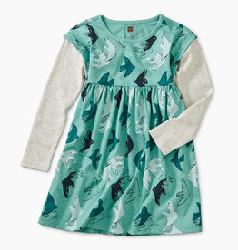 Tea Collection Layered Sleeve Dress 2-4T