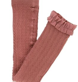 Ruffle Butts Cable Knit Footless Tights 6/12M