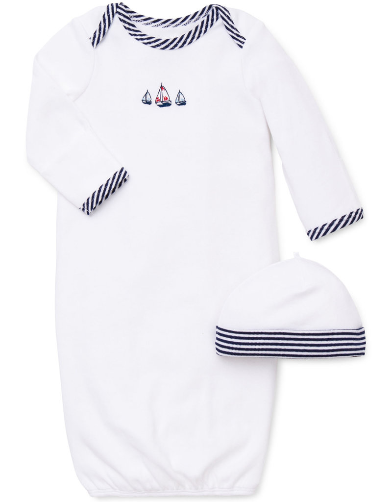 Little Me Sailboats Gown w/Hat 0/3M