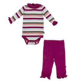 Kickee Pants Ruffle Neck Pant Set 12/18M