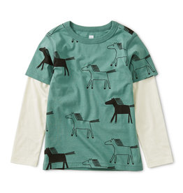 Tea Collection Highland Horses Layered Tee 8-12