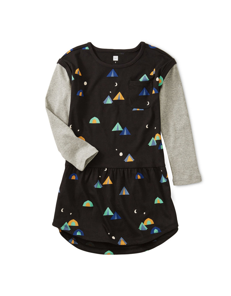 Tea Collection Layered Sleeve Pocket Dress Base Camp 2-4T