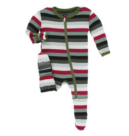 Kickee Pants Footie Christmas Stripe 12/18M