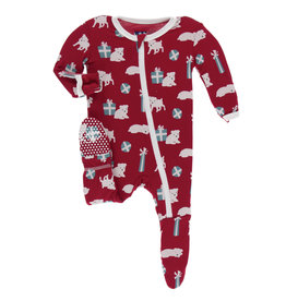 Kickee Pants Footie Crimson Puppies 12/18M, 18/24M