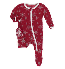 Kickee Pants Footie Crimson Snowflakes 0/3-9/12M