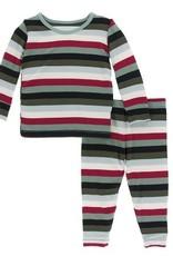 Kickee Pants L/S PJ Set Christmas Multi Stripe 5