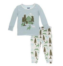 Kickee Pants PJ Set Woodland Cabin 8, 10