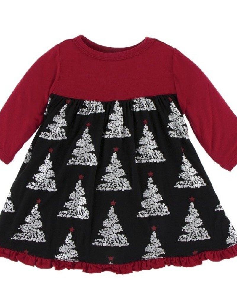 Kickee Pants L/S Swing Dress Midnight Foil Tree 12/18M, 18/24M