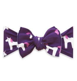Baby Bling Bow Printed Knot Plum Unicorn