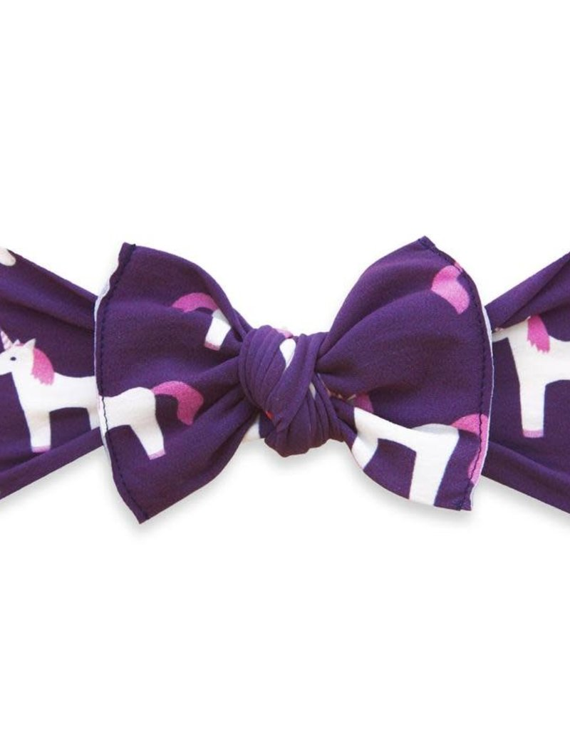 Baby Bling Bow Printed Knot Bow Plum Unicorn